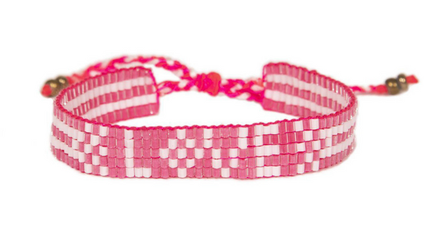 Pretty in Pink Seed Bead Love Bracelet