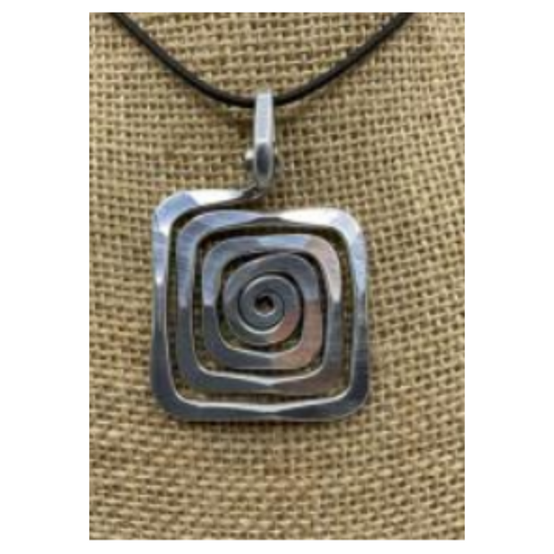 The Artist Jay Spiral Square Pendant Necklace
