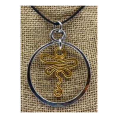 The Artist Jay Circle Dragonfly Mixed Metal Pendant Necklace