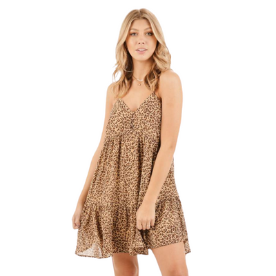 Animal Print Baby Doll Dress
