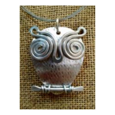 The Artist Jay Wise Old Owl Artisan Pendant Necklace