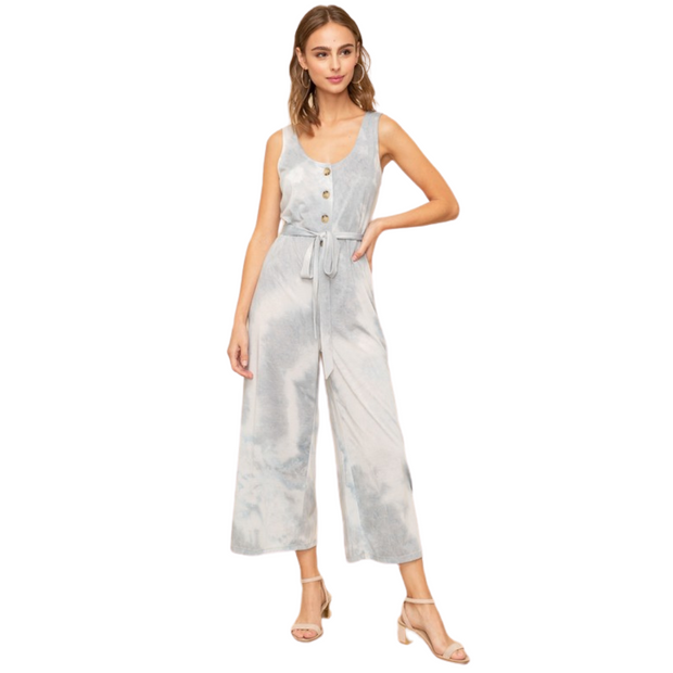 Soft Blue Tie Dye Jumpsuit