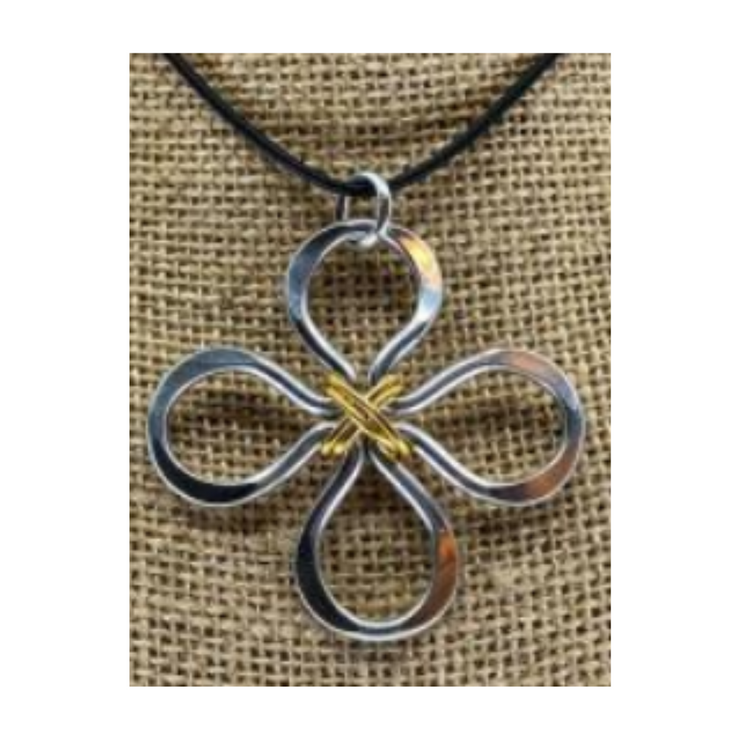 The Artist Jay Clover Mixed Metal Pendant Necklace