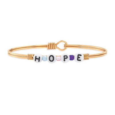 Hope Letter Bead Bangle Bracelet