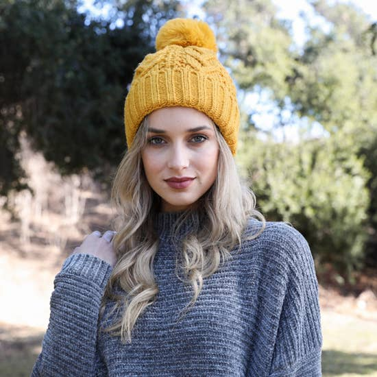 Coco Cable Knit Pom Beanie