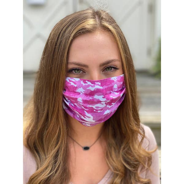 Pink Camo Pleated Face Mask