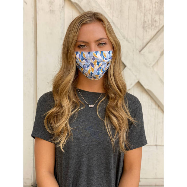 Fall Feathers Adjustable Pleated Face Mask