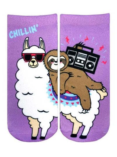 Chillin Llama Sloth Ankle Socks