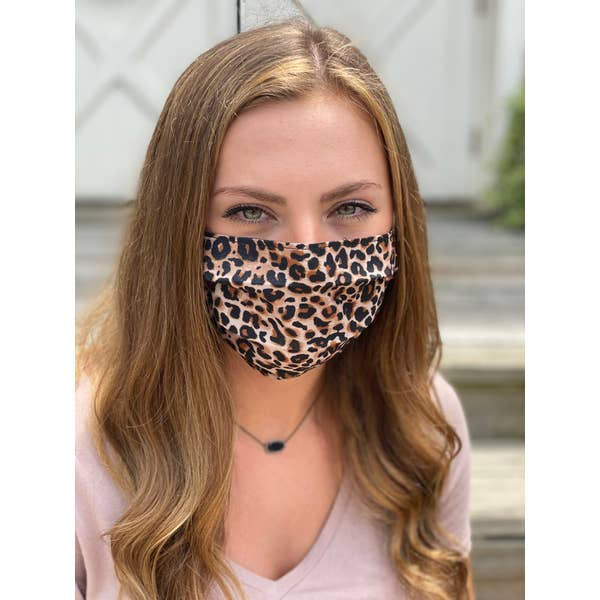 Leopard Print Pleated Face Mask