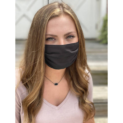 Solid Black Adjustable Pleated Face Mask