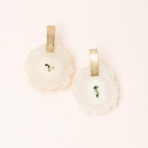 Stone Slice Earrings - White Quartz & Gold