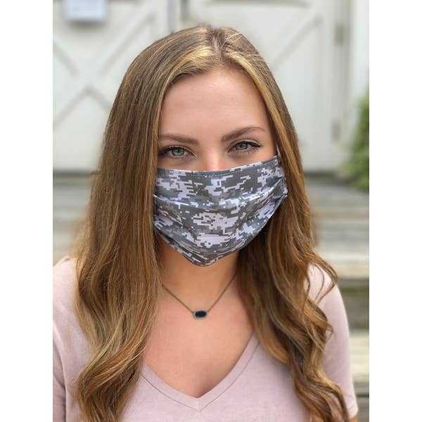 Digital Camo Pleated Face Mask