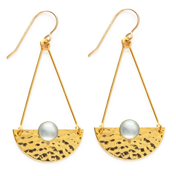 Mother of Pearl Hammered Horizon Earrings
