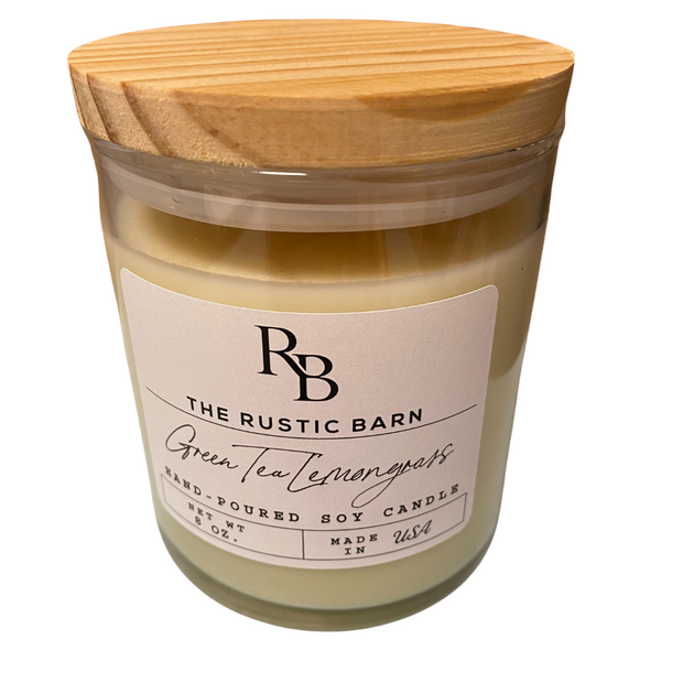 Green Tea Lemongrass Rustic Barn 8 oz Candle