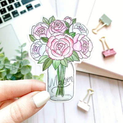 Mason Jar Peonies Watercolor Sticker