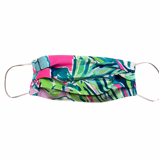 Handcrafted Lilly Pulitzer Fabric Pleated Mask