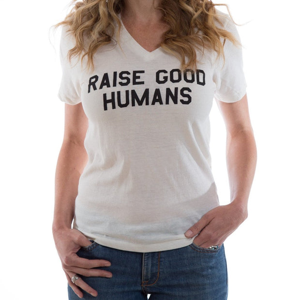 Raise Good Humans® White V-neck Tee