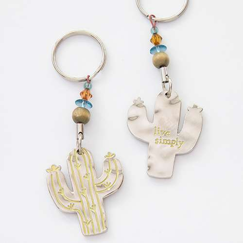 Natural Life Cactus Token Keychain