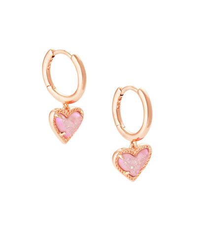 Ari Heart Rose Gold Huggie Earrings in Pink Drusy