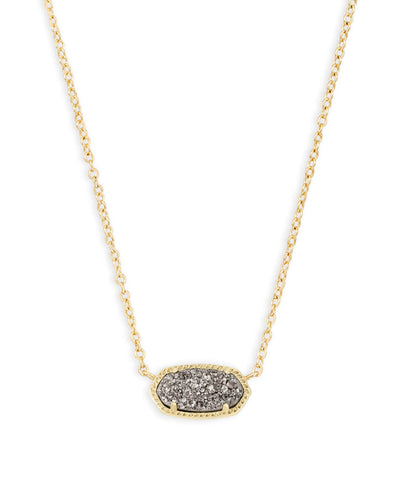 Kendra Scott Elisa Gold Pendant Necklace in Platinum Drusy