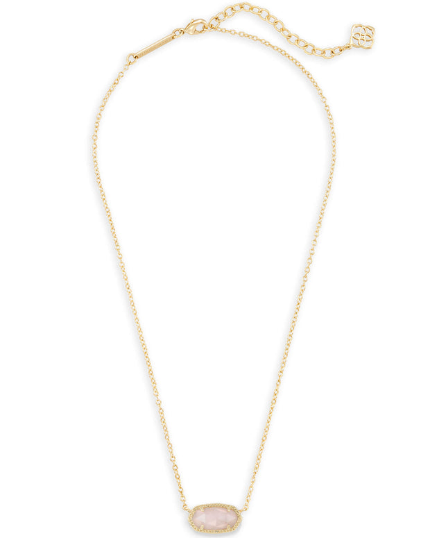 Kendra Scott Elisa Gold Pendant Necklace in Rose Quartz
