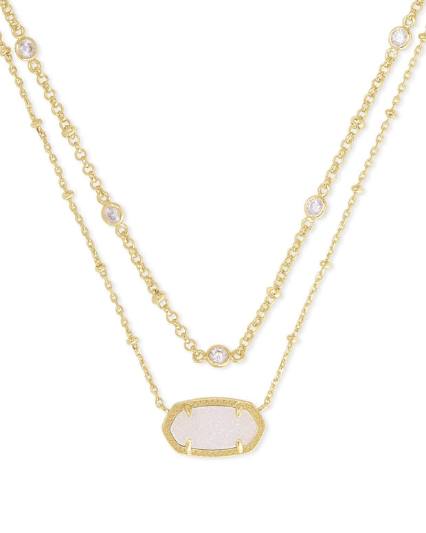 Elisa Crystal Gold Multi Strand Necklace in Iridescent Drusy
