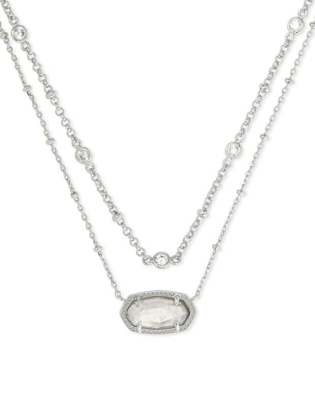Elisa Crystal Silver Multi Strand Necklace in Gray Illusion