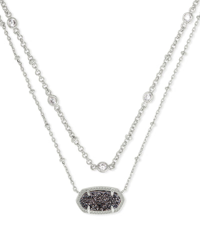 Elisa Crystal Silver Multi Strand Necklace in Platinum Drusy