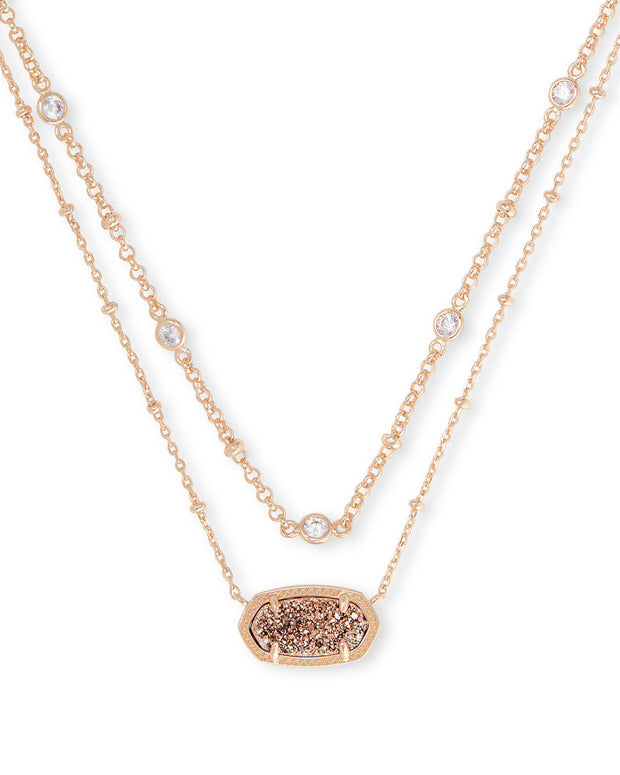 Elisa Crystal Rose Gold Multi Strand Necklace in Drusy