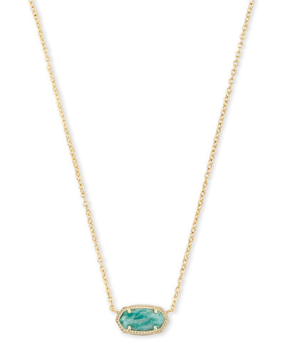 Elisa Gold Pendant Necklace in Dark Teal Amazonite