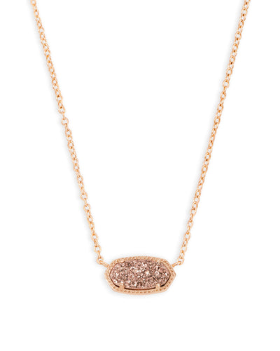 Kendra Scott Elisa Rose Gold Pendant Necklace in Rose Gold Drusy