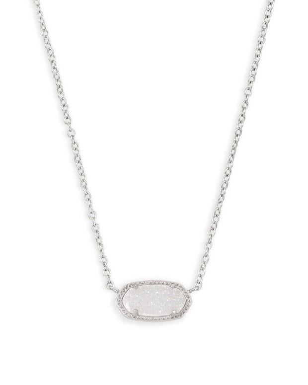 Kendra Scott Elisa Silver Pendant Necklace in Iridescent Drusy