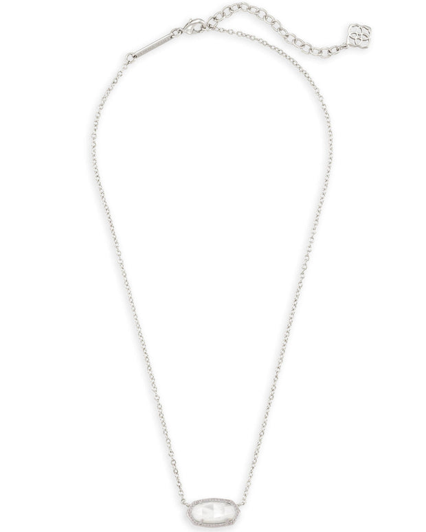 Elisa Silver Pendant Necklace in Ivory Mother of Pearl