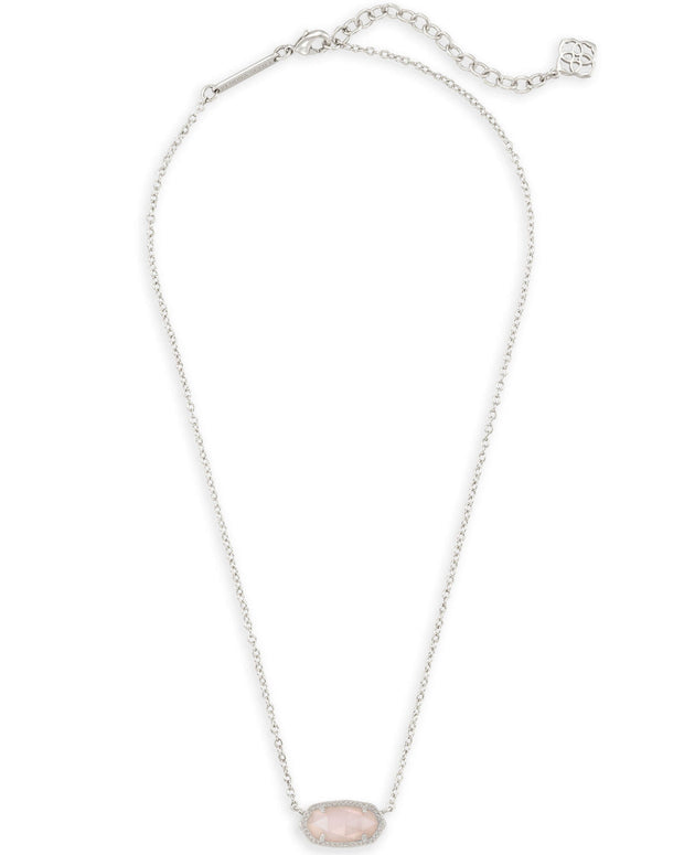 Kendra Scott Elisa Silver Pendant Necklace in Rose Quartz