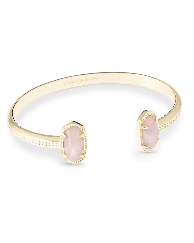 Elton Gold Cuff Bracelet in Rose Quartz