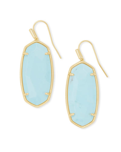 Faceted Elle Gold Drop Earrings Light Blue Magnesite