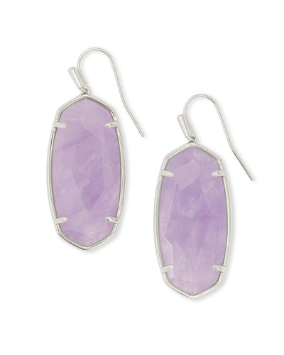 Faceted Elle Silver Drop Earrings in Amethyst