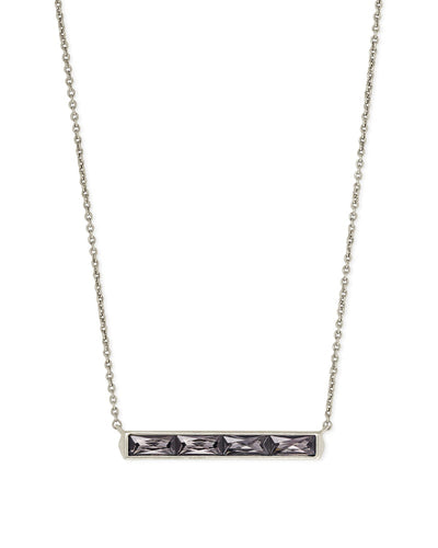 Jack Silver Pendant Necklace in Gray Crystal