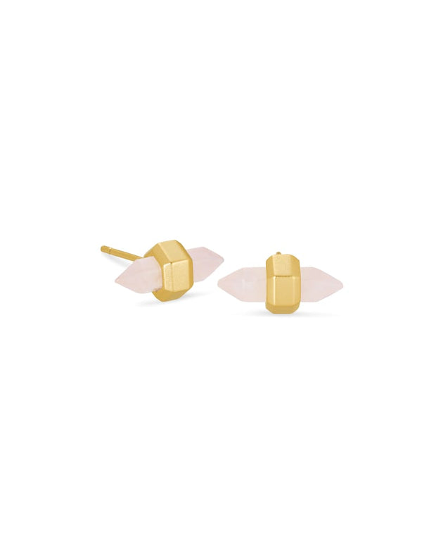 Jamie Gold Stud Earrings in Rose Quartz