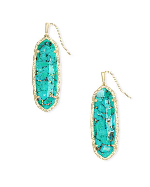 Layla Gold Drop Earrings in Bronze Veined Teal Magnesite