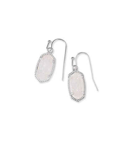 Kendra Scott Lee Silver Drop Earrings in Iridescent Drusy