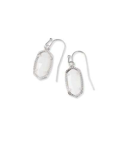Kendra Scott Lee Silver Drop Earrings in White Pearl