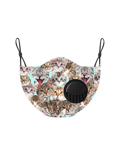 Kids Kitty Print Face Mask w/ Filters