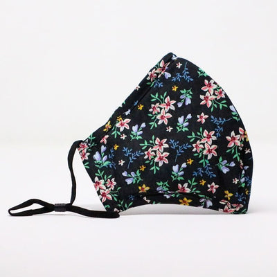 Black Floral Adjustable Mask