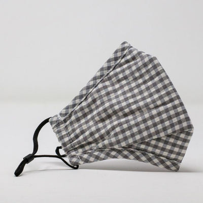 Grey Gingham Adjustable Mask