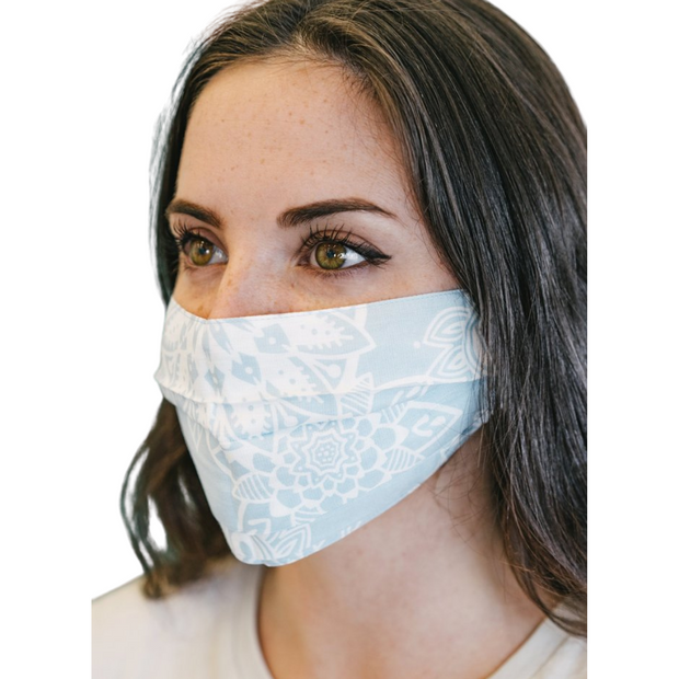 Lotus & Luna Mandala Paisley Pleated Face Mask