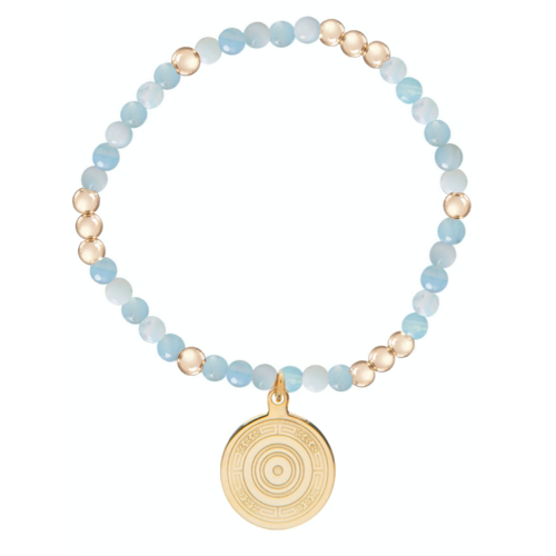 Worthy Pattern 4mm Bead Bracelet - Athena Small Gold Charm - Amazonite