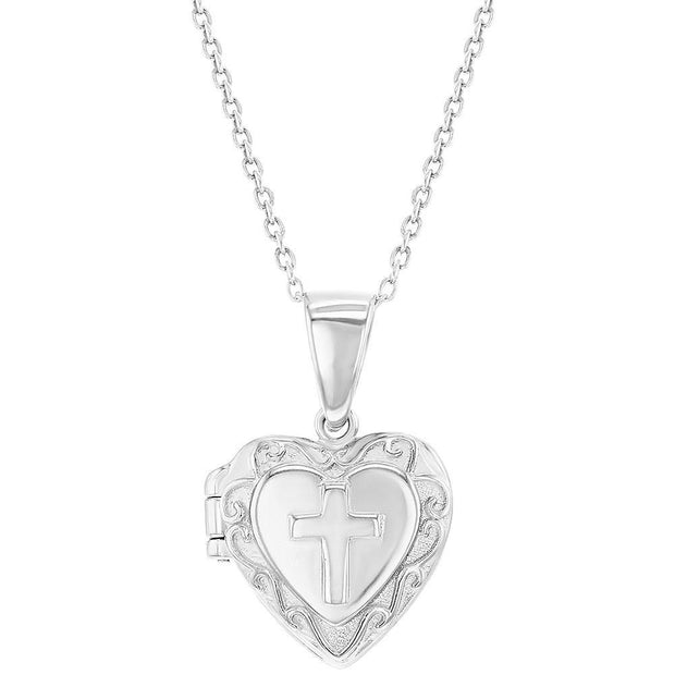 Heart Locket Cross Necklace