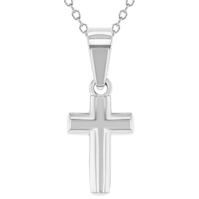 Tiny Plain Cross Pendant Necklace