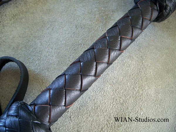 Heavy Round Braid Cat-O-Nine in Black and Chocolate Brown
